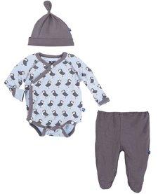 SS17-Kimono Kickee Pants / Kimono Newborn Gift Set with Hanger Pond Puffin