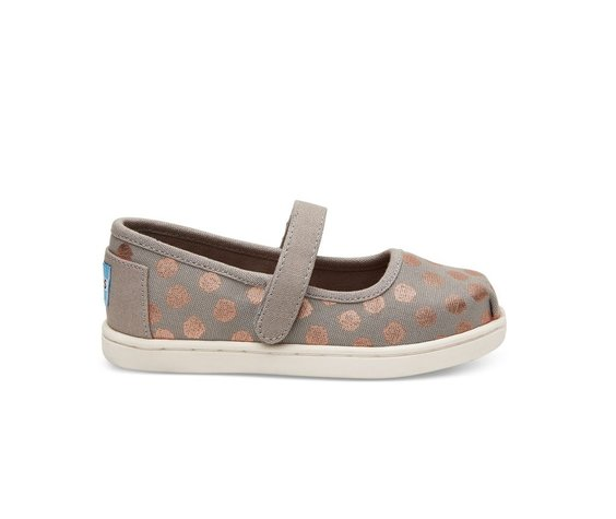 TOMS SS17 Chaussures Toms Shoes - Mary Jane Grey Rose Gold Polka Dot