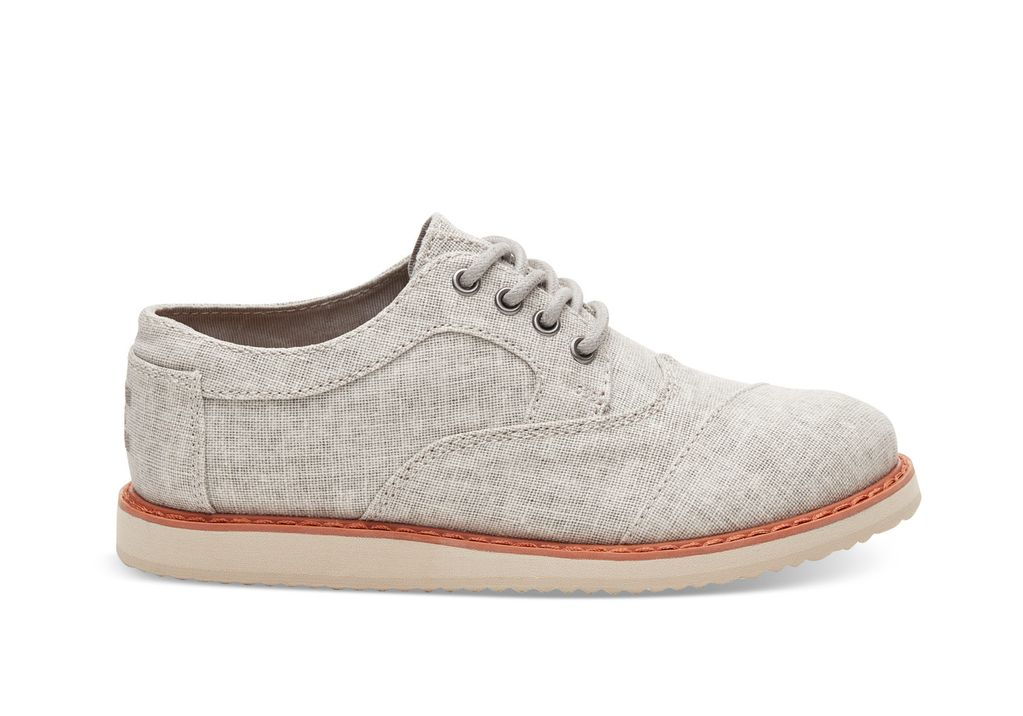 TOMS SS18 Chaussures Toms Shoes - Brogue Drizzle Grey Coated Linen