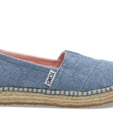 SS17 Chaussures Toms Shoes - Platform Alpargata Blue Slub Chambray
