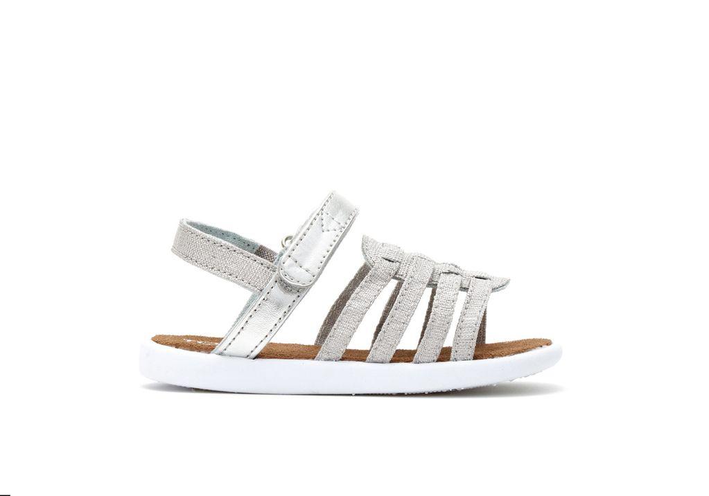 TOMS SS17 Chaussures Toms Shoes - Huarache Silver Metallic Linen