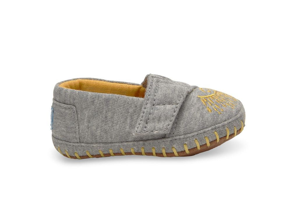 TOMS SS17 Chaussures Bébé Toms Baby Shoes - Crib Alpargata Grey Jersey Embroidery