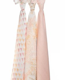 Couverture d'emmaillotage Métallique Pimrose Birch Aden & Anais Silky Soft Swaddle Blanket Metallic Pimrose Birch (3 Pack)