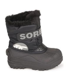 FW16 Bottes d'HIver Sorel à Velcro/ Toddler Snow Commander Black Charcoal Winter Boots