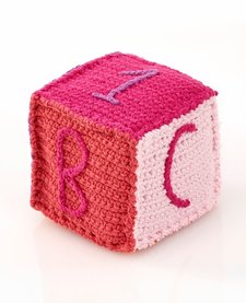 Cube en Tricot Rose Pebble/ Pink Toy Block