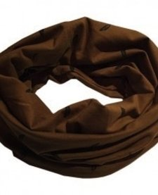 Foulard Anneau à Plumes de L&P/ Infinity Scarf with Feathers-Caramel, Junior