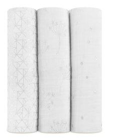 Couverture D'Emmaillotage Aden & Anais Metallic Silver Deco ( 3 Pack)