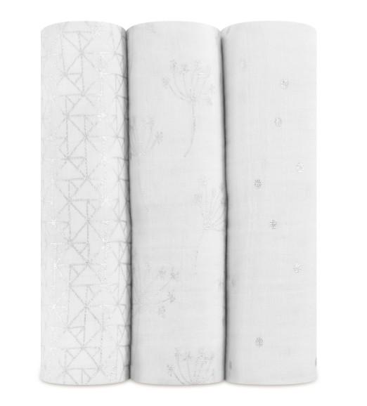 Aden & Anais Couverture D'Emmaillotage Aden & Anais Metallic Silver Deco ( 3 Pack)