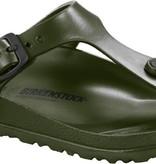 Birkenstock La Gizeh; un classique de la vaste gamme de produits BIRKENSTOCK; est réinterprétée et modernisée. Inspiré de la sandale en liège; ce modèle est en matière EVA particulièrement légère et très flexible. La sandale à entre-doigts est confectionnée d'une piè
