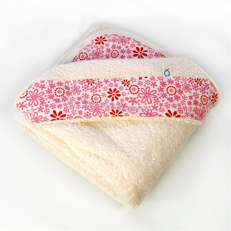 Oko Créations Serviette à capuchon pour bébés Biologique-Fleurs Roses Oko créations