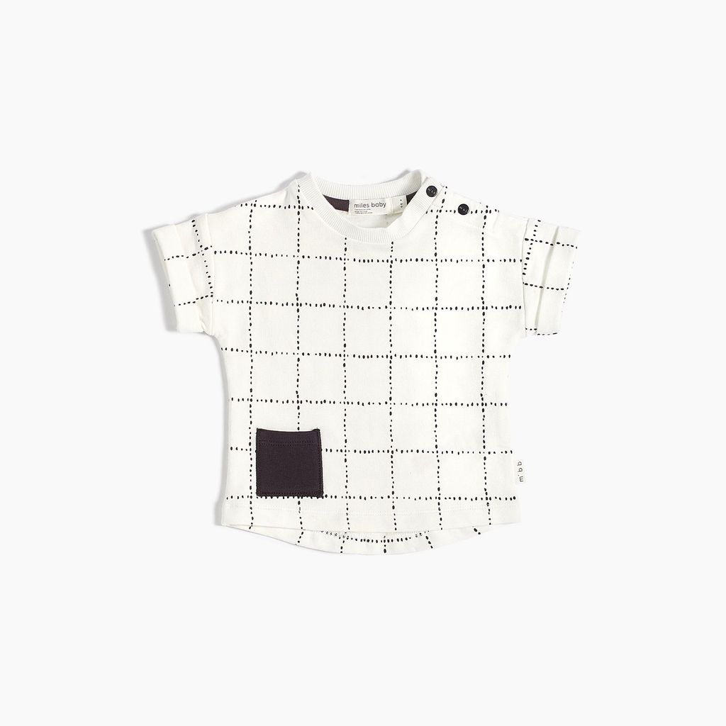 Miles Baby SS18 Chandail Tricot Windowpane T-Shirt de Miles Baby