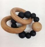 Loulou Lollipop Anneaux de Dentition en silicone et bois Noir/ Black Silicone and Wood Teether de Loulou Lollipop