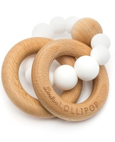 Anneaux de Dentition en silicone et bois Blanc - White Silicone and Wood Teether de Loulou Lollipop