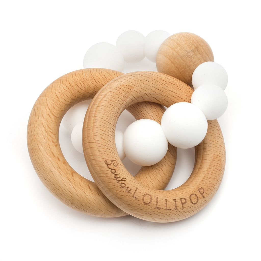 Loulou Lollipop Anneaux de Dentition en silicone et bois Blanc/ White Silicone and Wood Teether de Loulou Lollipop