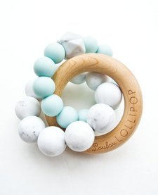 Anneaux de Dentition en silicone et bois Bleu/ Blue Silicone and Wood Teether de Loulou Lollipop