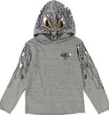 FW18 T-Shirt Gris à Capuche Oiseau, Manches Longues - Billybandit