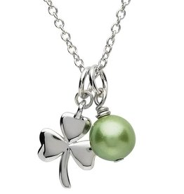 PENDANTS & NECKLACES PlatinumWare SHAMROCK & GREEN PEARL PENDANT