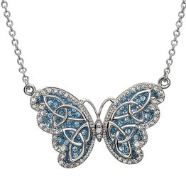 PENDANTS & NECKLACES STERLING SILVER AQUAMARINE CELTIC BUTTERFLY PENDANT with SWAROVSKI CRYSTALS