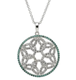 PENDANTS & NECKLACES STERLING SILVER WHITE & GREEN TRINITY MEDALLION with SWAROVSKI CRYSTALS