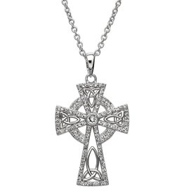CROSSES STERLING SILVER WHITE CELTIC CROSS with SWAROVSKI CRYSTALS