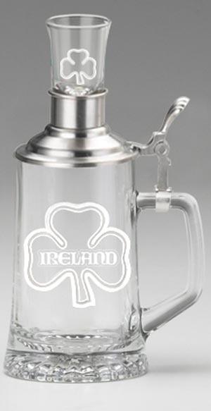 BARWARE IRELAND FATHER & SON STEIN & SHOT GLASS