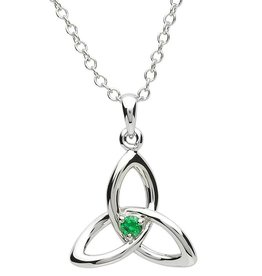 PENDANTS & NECKLACES PlatinumWare TRINITY KNOT WITH GREEN CZ PENDANT