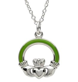 PENDANTS & NECKLACES PlatinumWare GREEN ENAMEL LARGE CLADDAGH PENDANT