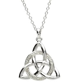 PENDANTS & NECKLACES PlatinumWare CELTIC STONE SET TRINITY WITH CIRCLE PENDANT