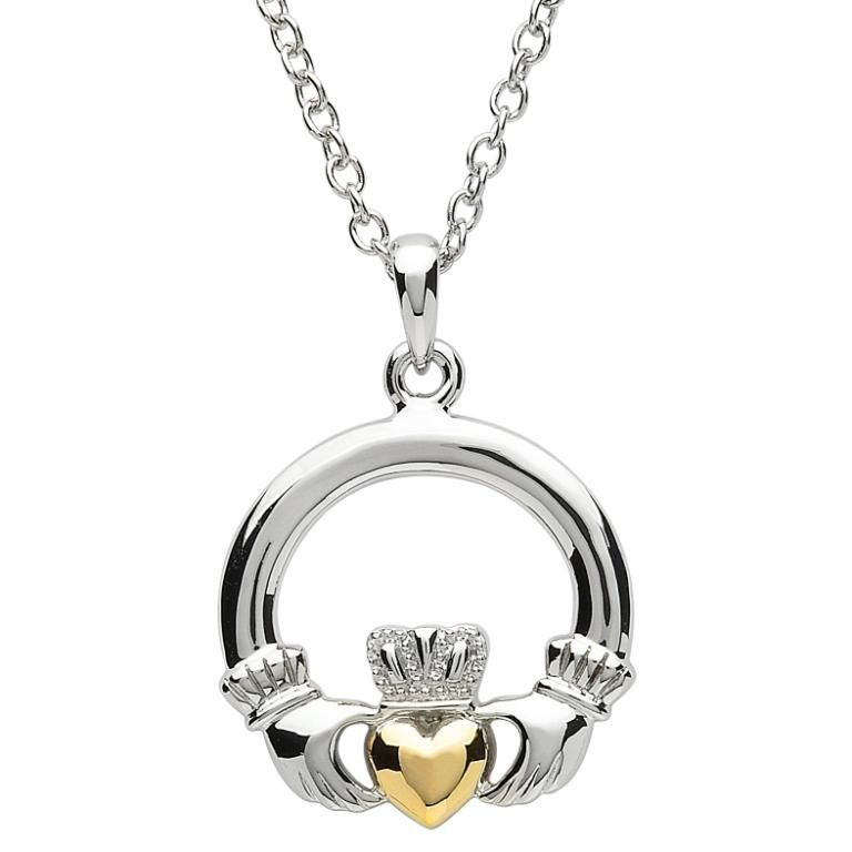 Earrings platinumware large claddagh pendant with gold plated heart earrings platinumware large claddagh pendant with gold plated heart aloadofball Image collections