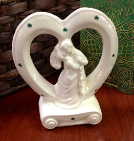 WEDDING ACCESSORIES HEART BRIDE & GROOM CERAMIC CAKE TOPPER