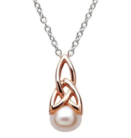 PENDANTS & NECKLACES CLEARANCE - SHANORE STERLING & ROSE GOLD PLATE TRINITY PENDANT with PEARL - FINAL SALE