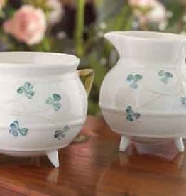 TEAPOTS, MUGS & ACCESSORIES SHAMROCK SUGAR & CREAMER BELLEEK ARCHIVE PIECES