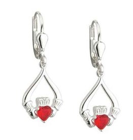 EARRINGS CLEARANCE - SOLVAR STERLING CLADDAGH VALENTINE DROP EARRINGS - FINAL SALE