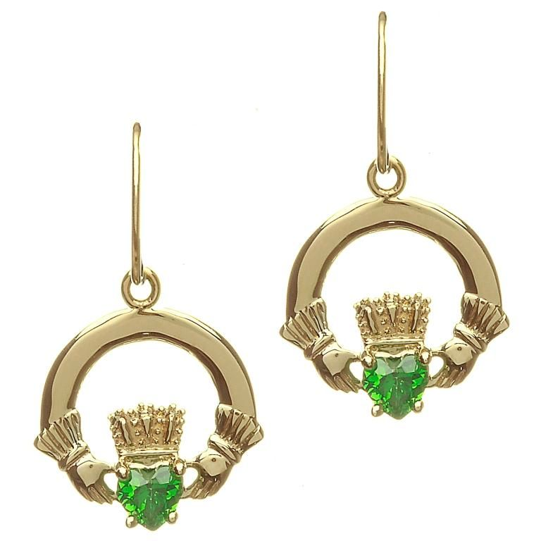 Earrings Shanore 10k Dangle Claddagh With Green Cz