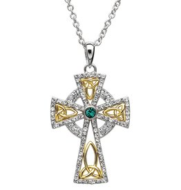 CROSSES STERLING SILVER TWO TONE CELTIC CROSS with SWAROVSKI CRYSTALS