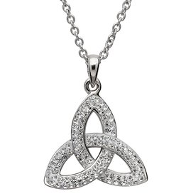 PENDANTS & NECKLACES STERLING SILVER WHITE TRINITY PENDANT with SWAROVSKI CRYSTALS