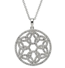 PENDANTS & NECKLACES STERLING SILVER WHITE TRINITY MEDALLION with SWAROVSKI CRYSTALS