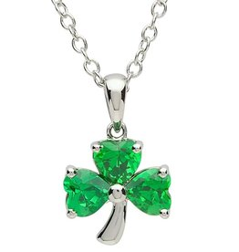 PENDANTS & NECKLACES PlatinumWare GREEN CZ SHAMROCK PENDANT