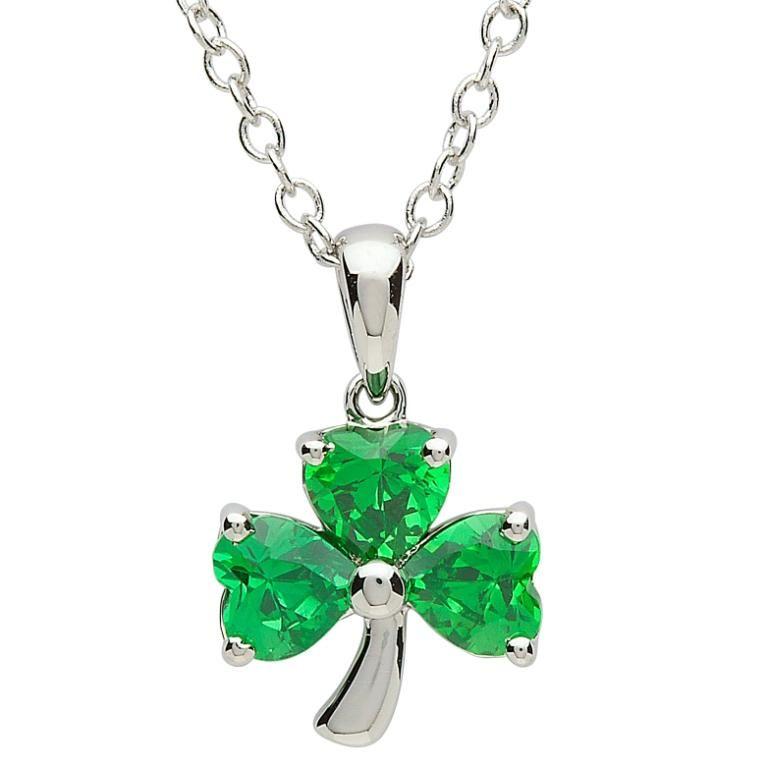 Platinumware green cz shamrock pendant irish crossroads pendants necklaces platinumware green cz shamrock pendant aloadofball Images