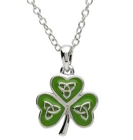 PENDANTS & NECKLACES PlatinumWare GREEN ENAMEL TRINITY SHAMROCK PENDANT
