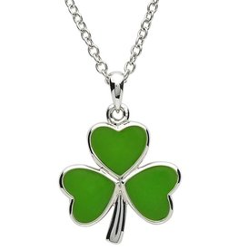 PENDANTS & NECKLACES PlatinumWare LARGE GREEN ENAMEL SHAMROCK EARRINGS