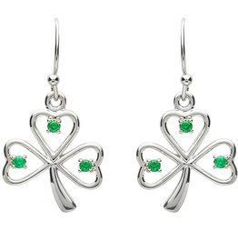 EARRINGS PlatinumWare GREEN CZ OPEN SHAMROCK EARRINGS