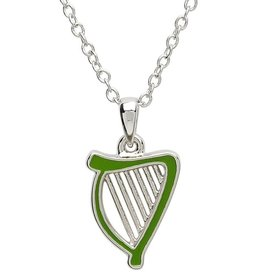 PENDANTS & NECKLACES PlatinumWare GREEN ENAMEL HARP PENDANT