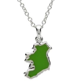PENDANTS & NECKLACES PlatinumWare GREEN ENAMEL MAP OF IRELAND PENDANT
