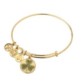 BRACELETS & BANGLES SOLVAR GOLD TONE GREEN SHAMROCK CHARM BANGLE