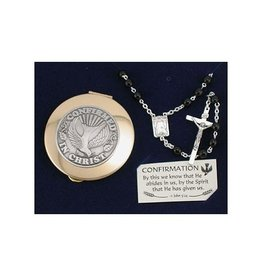 RELIGIOUS BOYS CONFIRMATION ROSARY & KEEPSAKE BOX