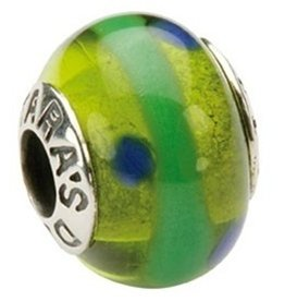 BEADS TARAS DIARY GREEN WITH BLUE DOTS GLASS BEAD