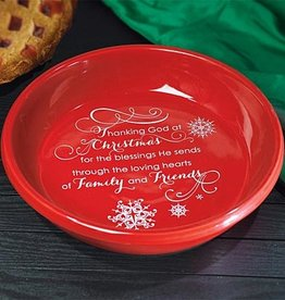 "HOLIDAY ""THANKING GOD AT CHRISTMAS"" DEEP DISH PIE PLATE"