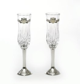 WEDDING FLUTES PEWTER & CRYSTAL CLADDAGH WEDDING FLUTES
