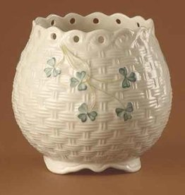 LIMITED EDITION BELLEEK SHAMROCK PIERCED POT ARCHIVED PIECE